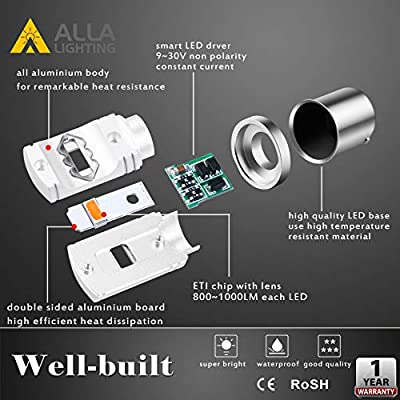 Alla Lighting 3800lm BA15S 1156 Amber Yellow LED Bulbs Xtreme Super Bright P21W 7506 1156 LED Bulb High Power ETI 56-SMD 12V LED 1156 Bulb for Car Truck Motorcycle RV Turn Signal Blinker Lights (2pcs): Automotive
