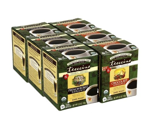 Teeccino Choice Pack (French Roast and Chocolate) Chicory Herbal Tea Bags, Caffeine Free, Acid Free, 10 Count (Gather together of 6)