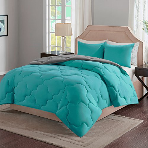 Comfort Spaces – Vixie Reversible Down Alternative Comforter Mini Set - 3 Piece – Teal and Grey – Stitched Geometrical Pattern – Full/Queen size, includes 1 Comforter, 2 Shams (Teal Bed Set Queen)