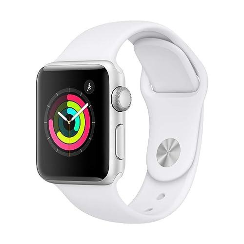 Apple Watch Series 3 GPS con caja de 38 mm de aluminio en plata y correa deportiva Blanca