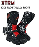 KIDS MOTORCYCLE BOOTS XTRM PRO STAR MX OFF ROAD BOOTS Motorbike Quad ATV BMX MTB Motocross Pit-Bike Junior Racing Sports Touring Boot (Camo Red) - Camo Red - UK4 / EU38