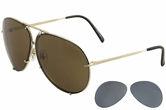 01ae52f8edc Amazon.com  Porsche P8478 B 60mm Interchangeable Titanium Sunglasses ...