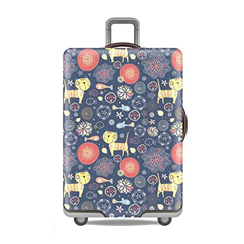 Suitcase Cover It Does not have bad smell at all Waterproof Wear-resistant Non-slip Four Seasons Available Spandex Suitcase Protector Fits 24-42 Inch Elastic Stretchy—Small fish and cat ( Size : XL )