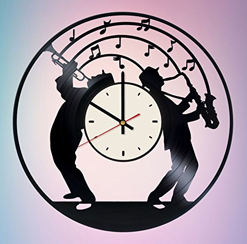 (Louis Armstrong and Sidney Bechet Vinyl Wall Clock Saxaphone Unique Gifts Living Room Home)