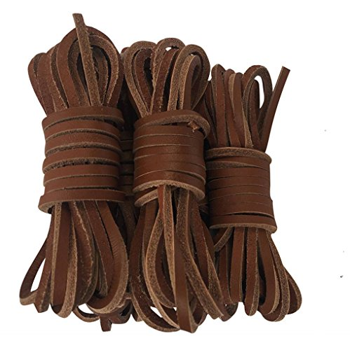 Genuine Leather Shoelace 126 Inch Square Long Boot Lace 3.5mm (126', 黄棕色) (Lace Shoe Leather)
