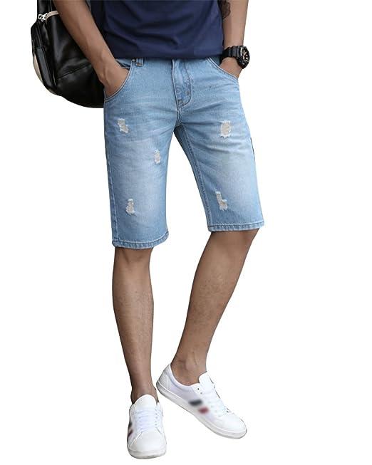 0145dd4301 Mengmiao Hombres Casual Jeans Rotos Shorts Rodilla Length Pantalones Cortos  Regular-Fit  Amazon.es  Ropa y accesorios