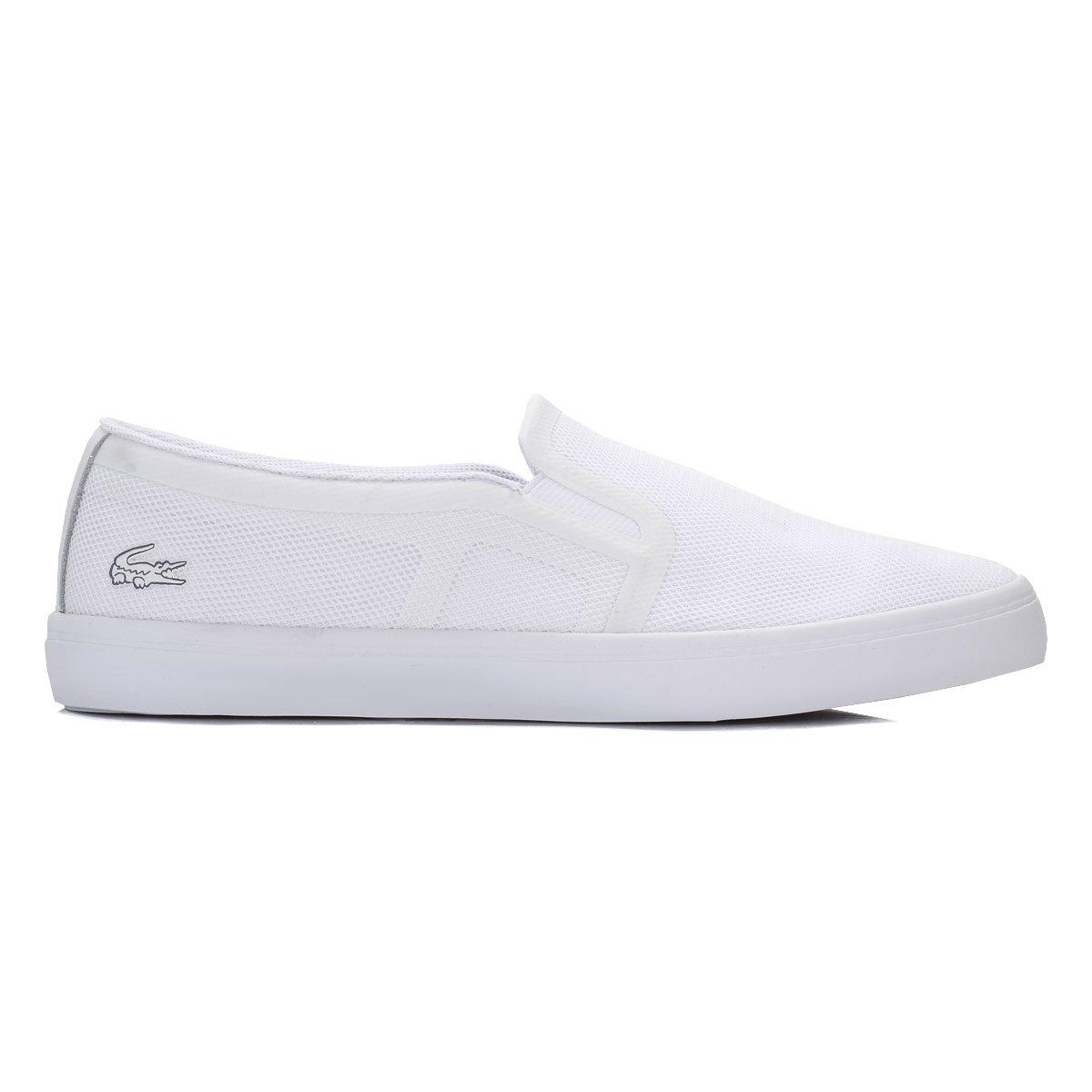 2481fbcb9 Lacoste Womens Gazon Slip On 116 Lightweight White Plimsolls Trainers -  White - 8  Amazon.co.uk  Shoes   Bags