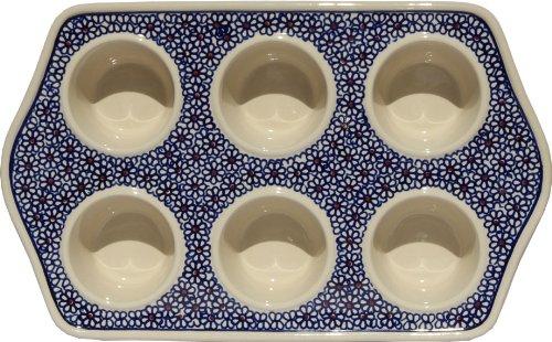 Polish Pottery Muffin Pan From Zaklady Ceramiczne Boleslawiec #1778-120 Classic Pattern, Length: 14'' Width: 8.75''