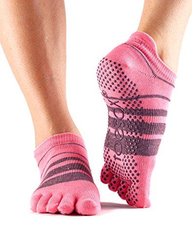 ToeSox Women's Low Rise Full Toe Grip Non-Slip for Ballet, Yoga, Pilates, Barre Toe Socks (Derby) Small