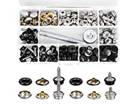 200-Pieces Stainless Steel Marine Grade Canvas and Upholstery Boat Cover Snap Button Fastener Kit with 2Pcs Setting Tool (50 Sets) (Fastener Screw Snap Kit)