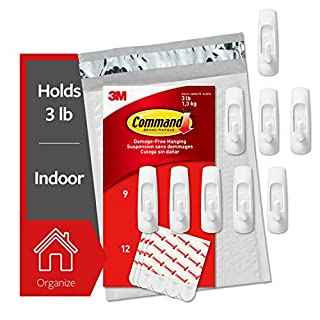 Command Medium Utility Hooks, 9 Hooks, 12 Strips, Organize and decorate your dorm