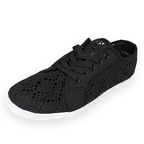 Tom & Eva chaussure dames Sneaker dentelle noir