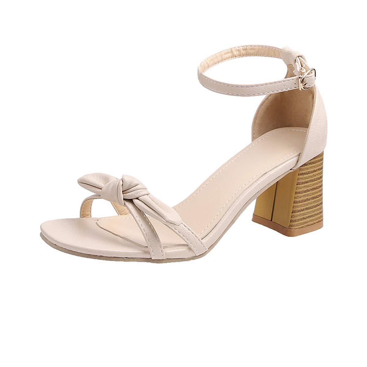 KPHY Chaussures pour Femmes/Les Frais Et Hauts Talons De Sexe Féminin Xia Bai Cravate Arc Chaussures Dense avec Une Paire De Sandales Simple 6 Cm Trente - Six Beige