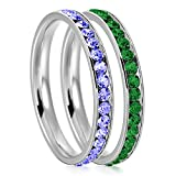 3mm Stainless Steel Eternity Blue Sapphire & Emerald Color Crystal Stackable Wedding Band Rings (2 pieces) Set, Size 10