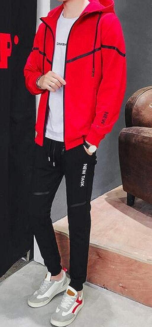 Bravepe Mens 2 Piece Set Gym Sweatshirt Coat Jacket Jogger Pants Jogger Tracksuit