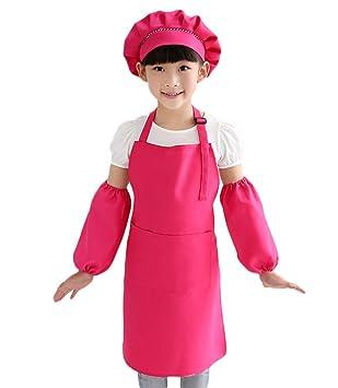Cosanter Kinder Sch/ürze Malsch/ürze Kunstkittel Kidsch/ürze 3-teiliges Sch/ürzen-Set mit Handschuh und Hut Rot