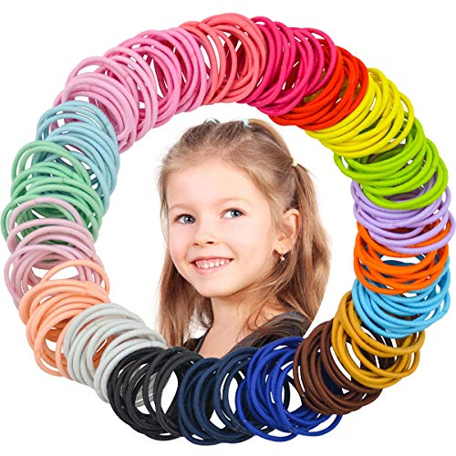 WillingTee 300 Pieces Multicolor Tiny Baby Girls Hair Ties No Crease Hair Bands Ponytail Holder Hair Accessories for Girls Infants Toddlers Kids and Children