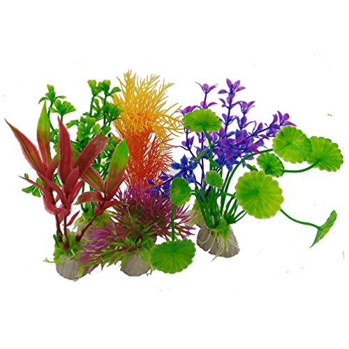 Evnis Fish Tank Decorations Home D¨¦cor Plastic Assorted Color, Aquarium Artificial Plants, 6 Pack Small Size 2.16 to 4.72 inch Approximate Height