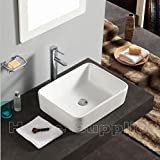 CERAMIC BATHROOM COUNTERTOP RECTANGLE BASIN SINK + WASTE by Home Supplies