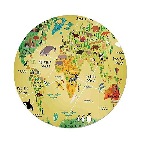 Maple Desk Atlantic (Polyester Round Tablecloth,Kids Decor,Educational World Map Africa America Penguins Atlantic Pacific Ocean Animals Australia Panda Decorative,Dining Room Kitchen Picnic Table Cloth Cover,for Outdoor)
