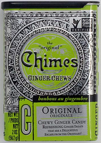 Ounce 2 Tin Large - Chimes Original Ginger Chews, 2-Ounce Tins (Pack of 20)