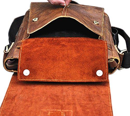Genda 2Archer Retro Leder Schulter Handtaschen Cross Body Bag Everyday für Männer