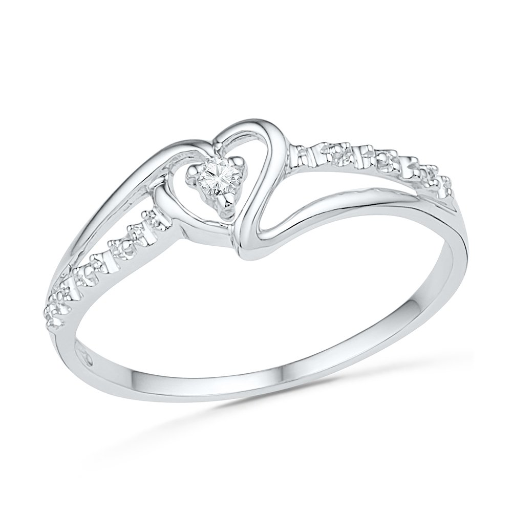 Lovely Promise Ring Featuring A Sparkling Heart In 10K White Gold And A Diamond (0.03 CTTW)