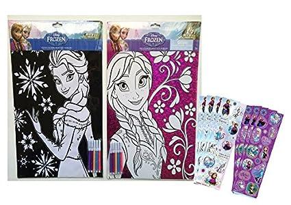 Amazon.com: Disney Frozen Coloring Sheets with Markers Set: Princess ...