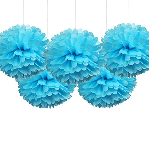 light blue and green paper poms - 8