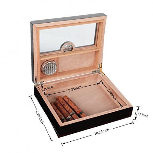 A Comely Glasstop Cigar Humidor Ebony and Spanish Cedar Wood Lined for 25 Cigars, Perfect Desktop Display Cigar Box Set with Hygrometer and Humidifier