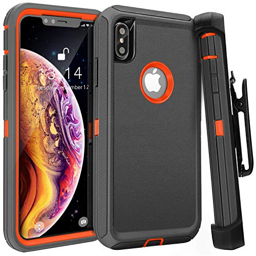 iPhone Xs Max Case,FOGEEK Belt Clip Holster Heavy Duty Kickstand Cover [Support Wireless Charging] [Dust-Proof] [Shockproof] Compatible for Apple iPhone Xs Max [6.5 inch] (Dark Grey/Orange)