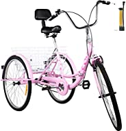 Rtourism Foldable Tricycle Adult 24-26'' Wheels Adult Tricycle 1-7 Speed 3 Wheel Bikes for Adults Folded for E