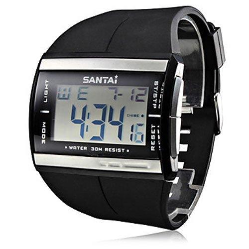 Caliente venta de vida impermeable Relojes Fashion LCD Reloj Digital Reloj Santai banda de goma reloj de cuarzo Hombre Reloj de pulsera Relogio: Amazon.es: ...