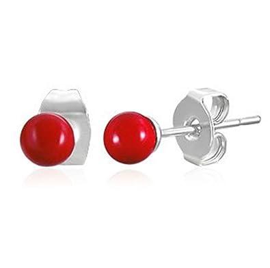Red Ball Earrings - Stainless Steel (4mm) vSBVf3ZVA