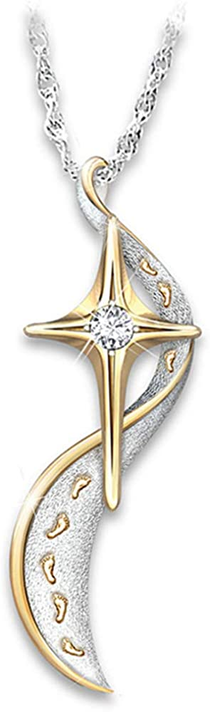 Inlaid Zircon Footprint Cross Pendant Star S-Shaped Pendant Two-Tone Necklace
