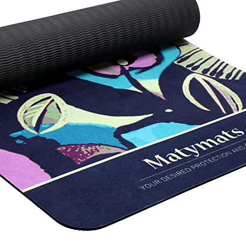 Matymats Hot Yoga Mats Non Slip Lightweight Eco-friendly Microfiber TPE Printed Exercise Mats with Carrying Strap (Under 2lbs)