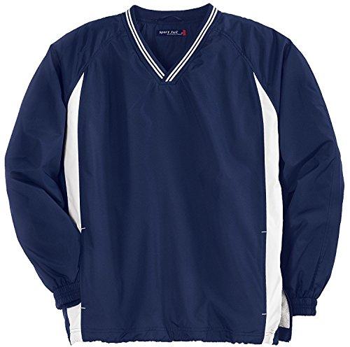 - Sport-Tek Sport-Tek, Tipped V-Neck Raglan Wind Shirt, True Navy/White, L