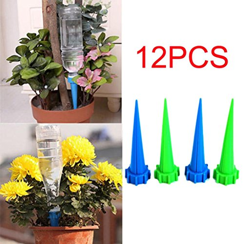 LiPing Self Watering Flower Plant Device Automatic Garden Sprinklers Water Watering Irrigation Spikes for Plastic Bottles, Self Plant Watering Devices for. (12PCS)