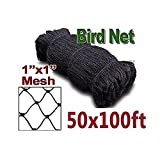 ZL 50'x100' Bird Netting for Fruit Tree Poultry Aviary Game Pen 1'' Square Mesh Size (50x100-1)