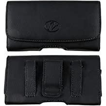 LG Optimus Quest/Optimus Zip Horizontal Premium Leather Carrying Case Pouch Holster with Magnetic Closure Belt Clip & Belt Loop (Medium Size will fit to Phones with a Slim Cover or Skin on)