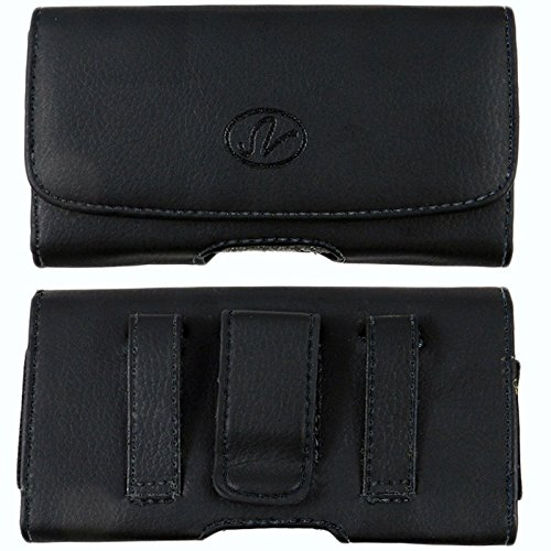 (Motorola i420/v361/i880/Krave Horizontal Premium Leather Carrying Case Pouch Holster with Magnetic Closure Belt Clip & Loop (Fits Phone with Mophie Juice Pack/Otterbox/Extended Battery/Commuter ON))