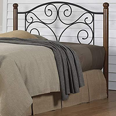 Fashion Bed Group Doral Headboard with Dark Walnut Wood Posts and Metal  Grill, King, Matte Black Finish