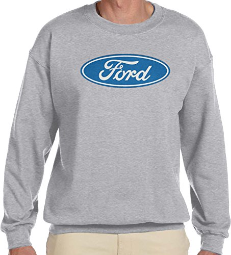 - Amdesco Men's Ford Logo, Officially Licensed Crewneck Sweatshirt, Heather Gray Large