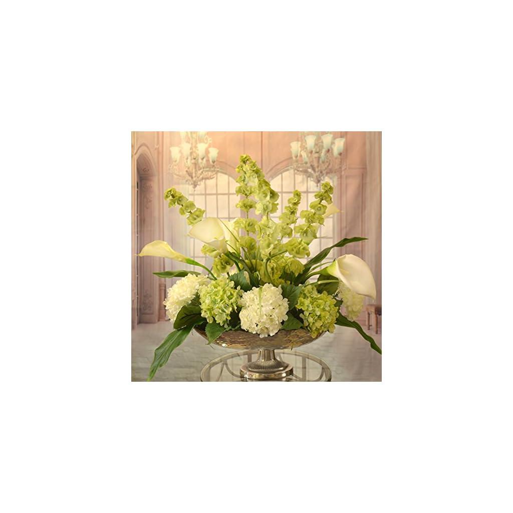 White Calla Lilly And Bells Of Ireland Silk Floral Centerpiece In Silver Bowl Silk Flower Arrangements