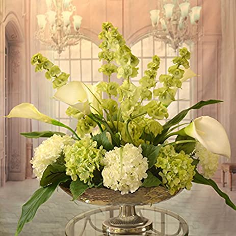 Amazon white calla lilly and bells of ireland silk floral white calla lilly and bells of ireland silk floral centerpiece in silver bowl mightylinksfo