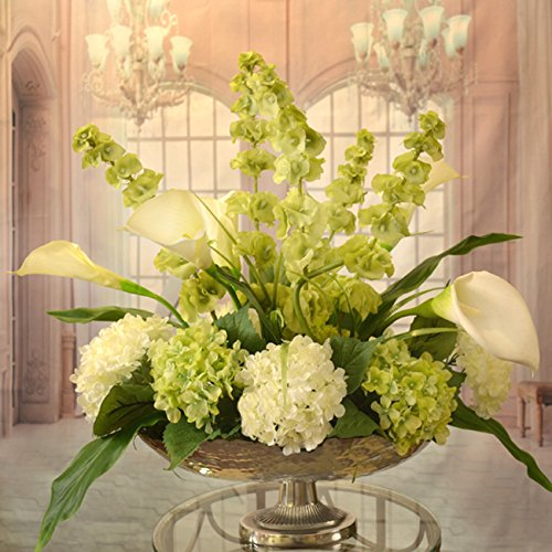 White Calla Lilly and Bells of Ireland Silk Floral Centerpiece in Silver Bowl (Dining Room Table Floral Centerpieces)