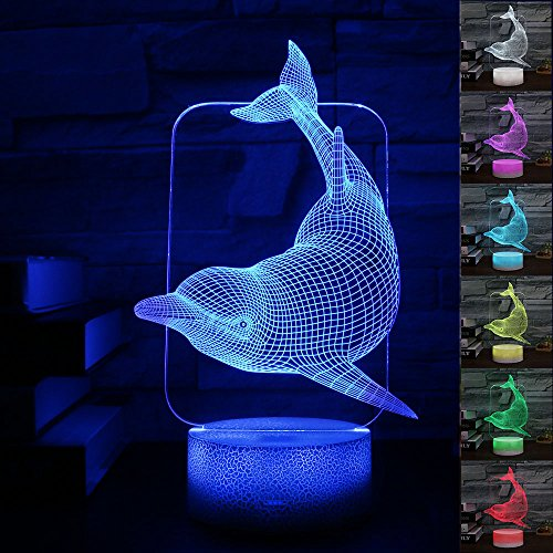 Gift Ideas Dolphin Night Lights 3D Illusion Lamp Animal Light Led Desk Lamps Anniversary Gifts for Baby Home Decor Office Bedroom Wedding Party Decorations Nursery Lighting 7 Color Crackle Paint Base