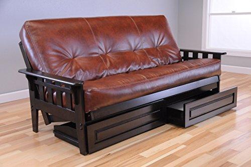 Wooden Futon Storage Drawers Mission Style Espresso Java Dark Brown Wood Frame with Full Size Mattress
