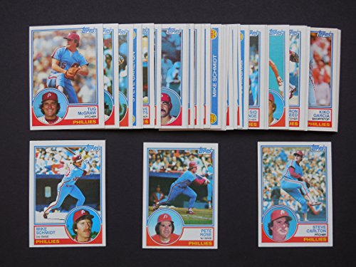 Philadelphia Phillies 1983 Topps Master Team Set w/ year-end Traded Cards (46 Cards)** (National League Champions)** Marty Bystrom, Steve Carlton, Larry Christenson, Pat Corrales, John Denny, Bob Dernier, Bo Diaz Greg Gross, Von Hayes, Willie Hernandez, Al Holland, Mike Krukow, Joe Lefebvre, Garry Maddox, Gary Matthews, Tug McGraw, Larry Milbourne, Sid Monge, Joe Morgan, Tony Perez, Ron Reed, Bill Robinson, Pete Rose, Dick Ruthven, Mike Schmidt, Manny Trillo, George Vukovich and More** (1983 Philadelphia Phillies)