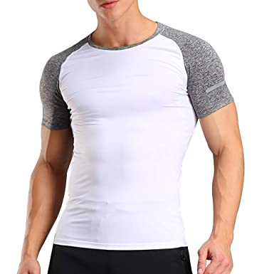 3c5cd86c4e25 Musclealive Hommes La Musculation Court Manche T-Shirts Haut Gym Tenue de  Sport Polyester et Spandex  Amazon.fr  Vêtements et accessoires